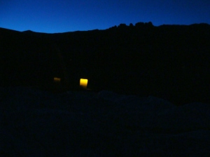 The glimmer from my candle out under the night sky!